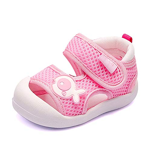 QGAKAGO Toddler Baby Boys or Girls Breathable Mesh Running Sneakers Summer Sandals (6.5 M US Toddler, Pink-1)