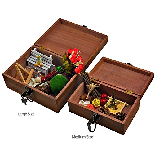 2 Sets Gift Box,Wood Keepsake Box Kit,Icefire Storage Treasure Memory Container,Cabinet Archival Western Rustic with Lock and Key for Card Makeup Tool Pill Candy Photo Hobby Silverware (Retro brown)