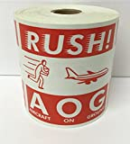 4x4 RUSH! AOG Aircraft On Ground Air Specialty D.O.T. Stickers 500 labels per roll