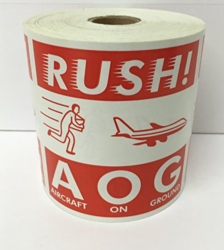 4x4 RUSH! AOG Aircraft On Ground Air Specialty D.O.T. Stickers 500 labels per roll by Labels and More