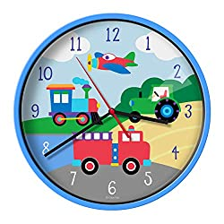 Wildkin Kids Wall Clock for Boys and Girls, Features Silent Quartz Movement, Glass Cover, and Durable Plastic Cover, Battery Not Included, Design Coordinates with Our Bedding and Room Decor