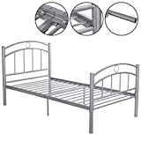 MasterPanel - 83''x43''x42''Sliver Metal Bed Frame Platform Twin Size Bedroom Home Furniture #TP3243