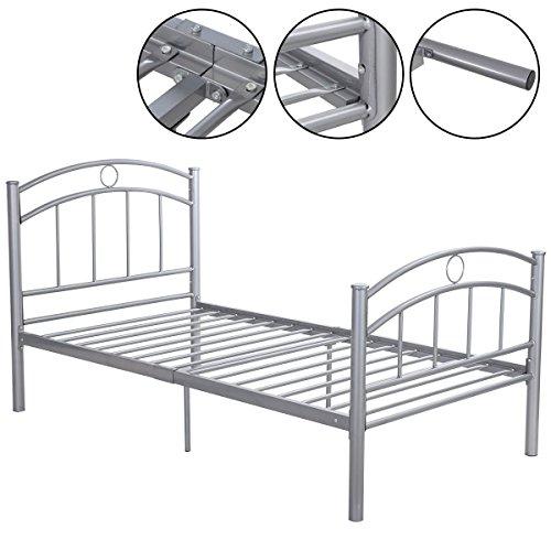 MasterPanel - 83''x43''x42''Sliver Metal Bed Frame Platform Twin Size Bedroom Home Furniture #TP3243 by MasterPanel