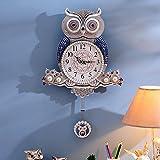 PinWei_ Fashion creative OWL wall clock, modern art deco clock mute wall mount table,20 inch silver