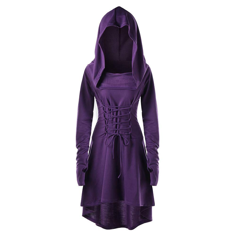 AMUSTER Damen Kleid Lose Minikleid Gothic Kleid Cocktail Party Kleid Damen Langarm Kapuzenpullover Sweatjacke Hoody Tunika Unregelmä ß ige Hoodiekleid