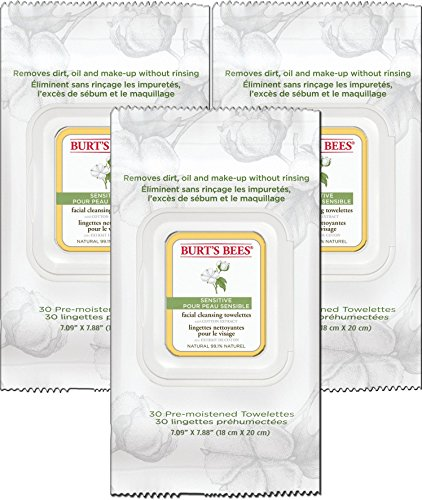 Burt's Bees Sensitive Facial Cleansing Towelettes with Cotton Extract, 3 pack