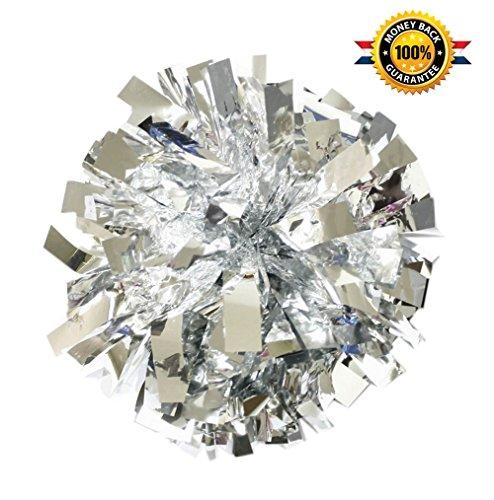 (PUZINE Cheerleading Metallic Foil & Plastic Ring Pom Poms Cheerleading Poms Pack of 2 (Silver))