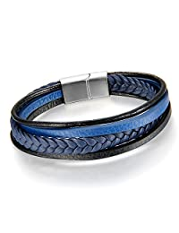 Cupimatch Men's Stainless Steel Magnetic Clasp Multi-layer Black Blue Braided Leather Rope Bracelet Cuff