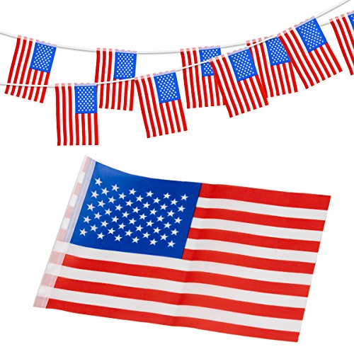 5.5' Springs - KODOO 33Feet American Flag Banner String,38pcs USA Pennant flags Banners For Patriotic Party Decorations,Independence Day Party Decorations and Sports Bars (8.2