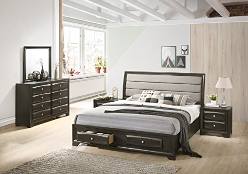 Roundhill Furniture B138NKDMN2 Asger Wood Bedroom Set with Upholstered King Bed, Antique Gray ()