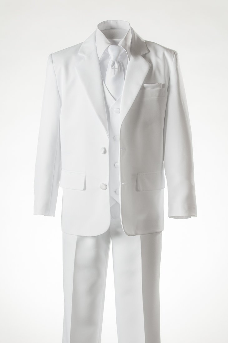 Boys White Suit Religious Cross Neck Tie, Covered Buttons & Pocket Square (4 ) by Tuxgear