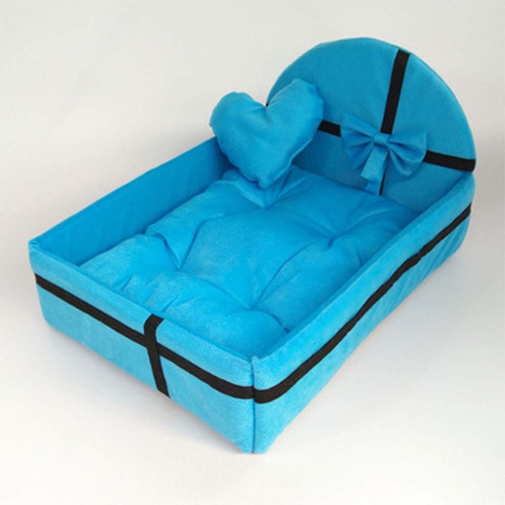 bluee Large bluee Large Pet Dog Bed, with Mat Cute Plush Cushion Warm Small Medium Large Dogs Removable Mattress Cat Puppy Kennel,bluee,Large