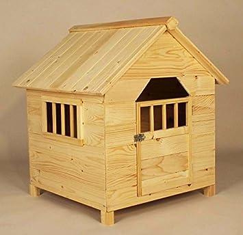 Chalet de Madera - Casa de caseta de perro madera manchas acabado con 1 puerta de bisagras - perfecto para casa para perros pequeños en el jardín: ...