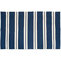 J&M Home Fashions Cotton Fashion Reversible Indoor/Outdoor Cabana Stripe Woven Area Rag Rug, 30x48, Unique For Bedroom, Living Room, Kitchen, Laundry, Wash Room, Nursery-Navy Blue