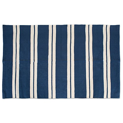 """J&M Home Fashions Cotton Fashion Reversible Indoor/Outdoor Cabana Stripe Woven Area Rag Rug, 30x48"""", Unique For Bedroom, Living Room, Kitchen, Laundry, Wash Room, Nursery-Navy Blue"""