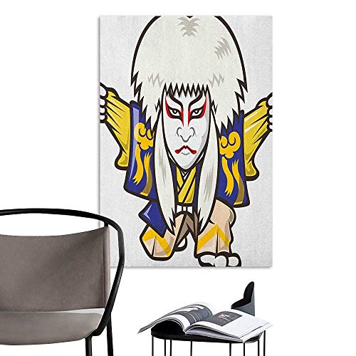 Alexandear 3D Murals Stickers Wall Decals Kabuki Mask Character with Kimono Costume Orient Elements Edo Era Arts Theater Play Print Multicolor Girls Bathroom W8 x H10 -