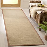 Safavieh Natural Fiber Collection NF132D Light Brown and Multi Sisal Runner (26 x 8)