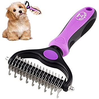 Dematting Comb Tool for Dogs Cats Pet Grooming Undercoat Rake with Dual Side - Gently Removes Undercoat Knots Mats