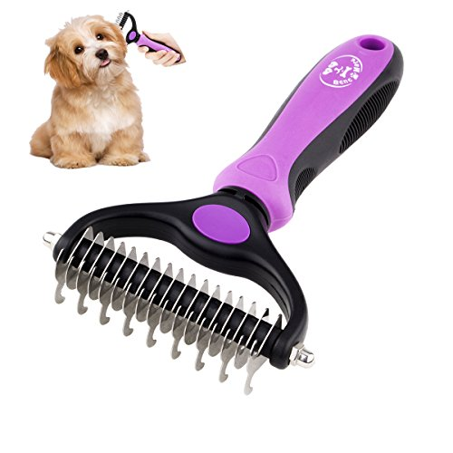 Matte Knot - BENCMATE Dematting Comb Tool for Dogs Cats Pet Grooming Undercoat Rake with Dual Side - Gently Removes Undercoat Knots Mats(Purple)