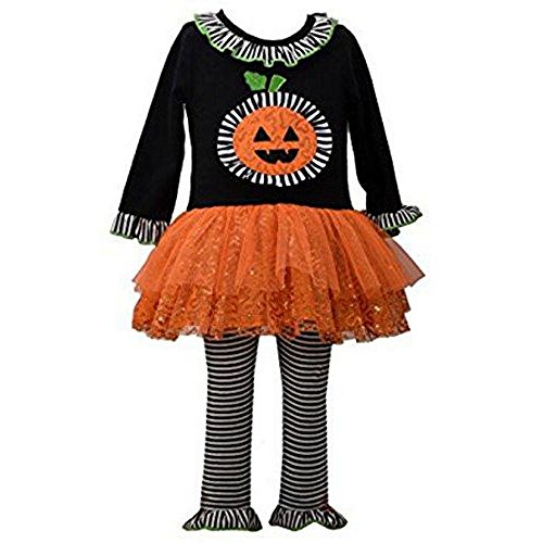 Bonnie Jean Baby Girls' Halloween Pumpkin Appliqued Dress and Legging Set (0-3 Months)