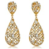Goldtone with Clear Iced Out Vine Twist Teardrop Shaped 3.25 Inch Dangle Clip on Earrings (E-1094)