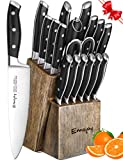 Knife Set, 18-Piece Kitchen Knife Set with Block Wooden, Manual Sharpening for Chef Knife Set, German Stainless Steel, Emojoy (18-piece Knife Set)