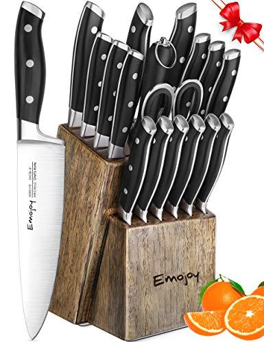 Bamboo Knife Block Set - Knife Set, 18-Piece Kitchen Knife Set with Block Wooden, Manual Sharpening for Chef Knife Set, German Stainless Steel, Emojoy (18 Piece Knife Set)