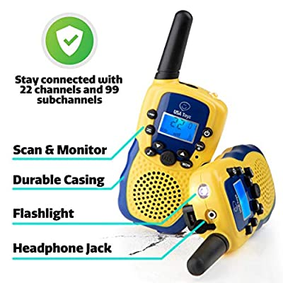 USA Toyz Vox Box Walkie Talkies for Kids with Toy Binoculars Set - Explorer Kit with 2 Voice Activated 2+ Mile Long Range Walkie Talkies for Boys and Girls (Blue and Yellow): Toys & Games