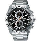 Lorus Men's 47mm Steel Bracelet & Case Quartz Black Dial Analog Watch RM347DX9