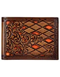 Hooey Brand Roughy Signature Diamond Tooled Orange Inlay Leather Bifold Wallet - 1831161W1