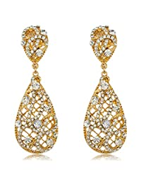 JOTW Gold with Clear Iced Out Vine Twist Teardrop Shaped 325 Inch Dangle Clip on Earrings