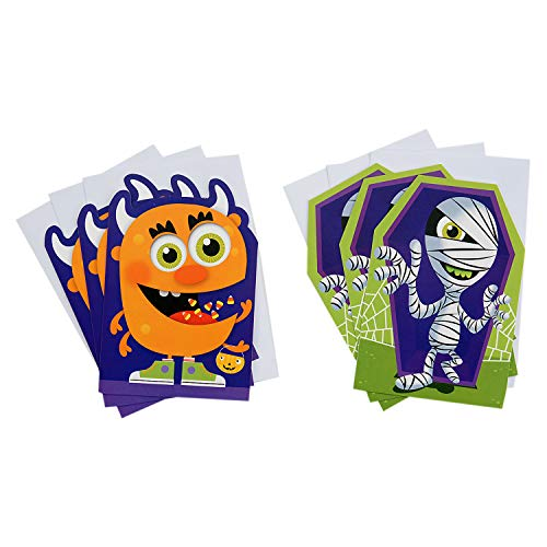 Hallmark Halloween Cards Assortment for Kids, Monster and Mummy (6 Cards with -
