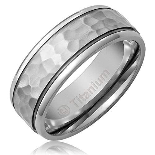 Cavalier Jewelers 8MM Titanium Promise Engagement Rings for Men | Wedding Bands for Him | Hammered Finish [Size 10] ()