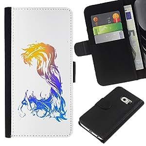 Samsung Galaxy S6 EDGE SM-G925 , la tarjeta de Crédito Slots PU Funda de cuero Monedero caso cubierta de piel ( Waves Mermaid Woman Art Goddess Watercolor)