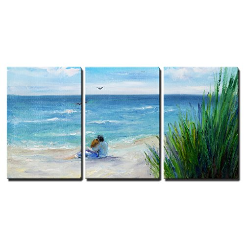 """Wall26 - 3 Piece Canvas Wall Art - Original Oil Painting Showing Couple in Love Sitting on the Beach - Modern Home Decor Stretched and Framed Ready to Hang - 24\""""x36\""""x3 Panels"""