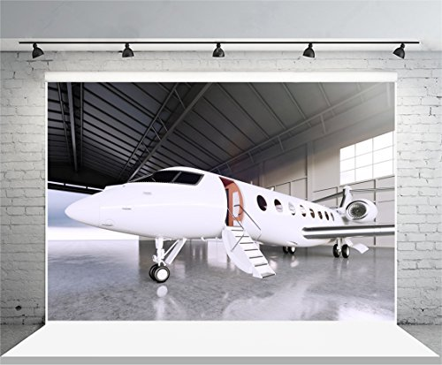 Laeacco Airplane Photography Background 10x6.5ft Vinyl Backdrop White Matte Luxury Generic Design Private Jet Parking in Hangar Airport Concrete Foor Business Film Effect Studio Shoot - In Airport New York Shops