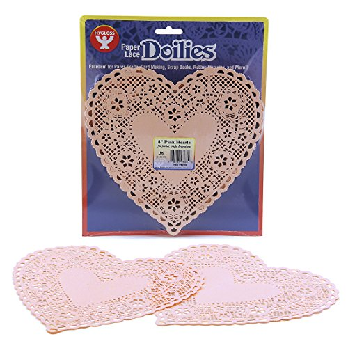 Hygloss Products Heart Paper Doilies - 8 Inch Pink Lace Doily for Decorations, Crafts, Parties, 36 Pack