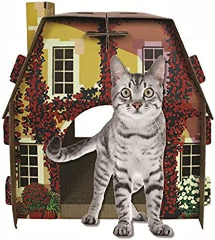 American Cat Club Mediterrean Villa Cat House & Scratcher w/ Catnip