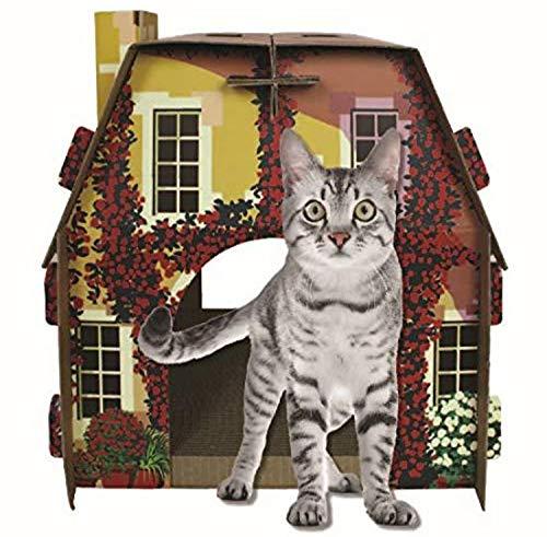 American Cat Club Mediterrean Villa Cat House & Scratcher w/ Catnip