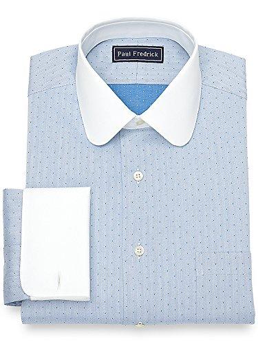 Paul Fredrick Men's Cotton Herringbone Dress Shirt Royal Blue 15.5/33