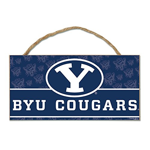NCAA BYU Cougars Wood Sign with Rope,  5 x 10-Inch