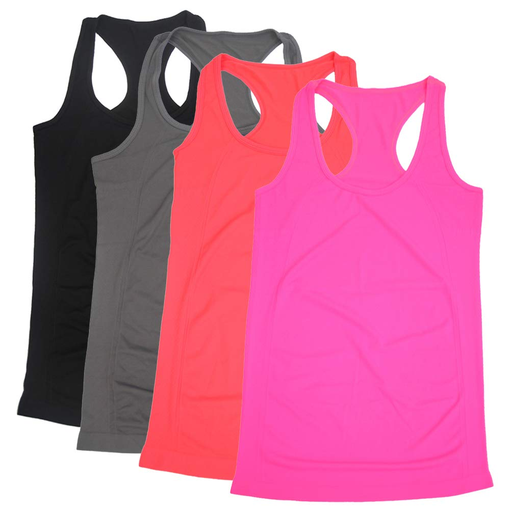 BollyQueena Tanks Womens Tops, Pack 4 Racerback Tank Yoga Women's Yoga Tank Top Racerback Multicoloured S