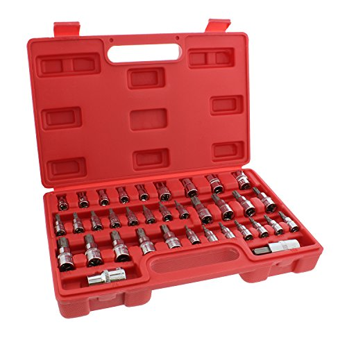 "ABN Star Socket Bit Set, 35pc Kit 1/4"", 3/8"", 1/2"" Inch Drive Socket Set External E4 to E16, Torx T8 to T55 Socket Bits"
