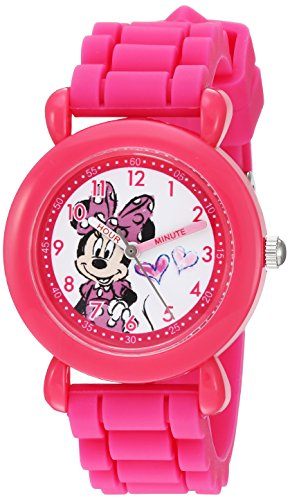 Disney Girl's 'Minnie Mouse' Quartz Plastic and Silicone Casual Watch, Color:Pink (Model: WDS000007)