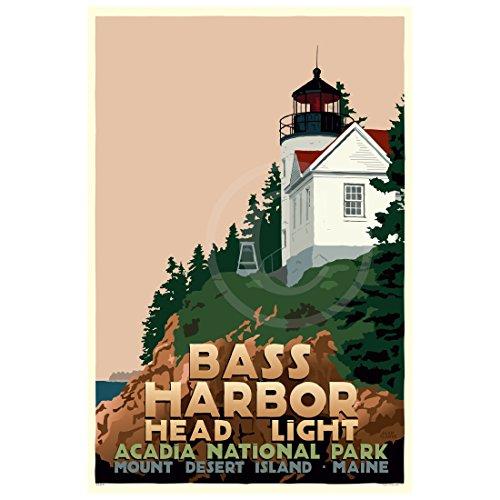 Bass Harbor Head Light, Maine Print (24x36 Travel Poster, Wall Decor Art)