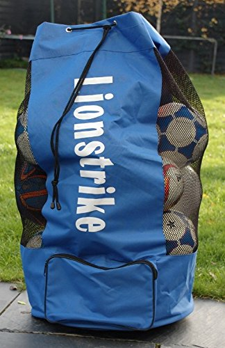 Lionstrike Football Rugby Sack Bag - holds up to 15 footballs soccer rugby netball balls and is made of strong Nylon construction with strong stitching, along with an adjustable shoulder strap and convenient side pocket for storing valuables LSBAG