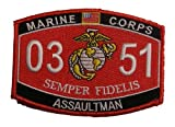 Marine Corps 0351 Infantry Assaultman MOS Patch - Veteran Owned Business