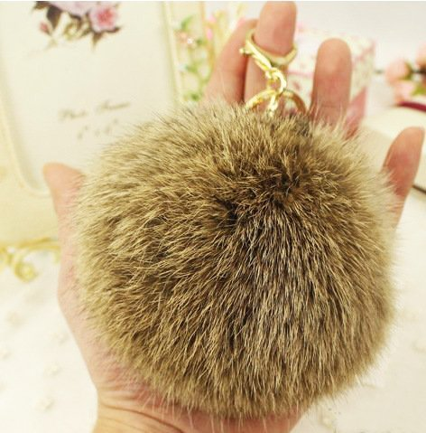 Minigianni Rabbit Fur Ball Pom Pom Keychain Gold Plated Keychain Pendant for Handbag Wallet Purse Car Key (Brown)