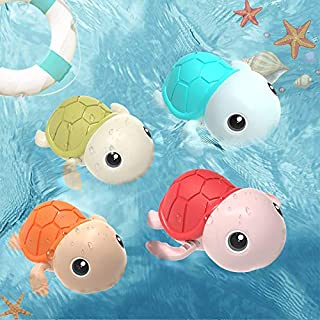DFSQ Bath Toys Swimming Turtle for Toddlers 1-3 Years Old, Pool & Tub Girl Toys, Bathtub Gift for Boy and Baby Shower Infants 2- 6-12 Months (4 Pack)
