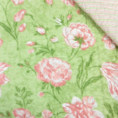 Laura Ashley Cadence Green and Pink Floral Reversible Quilt with (Laura Floral Pillow Shams)